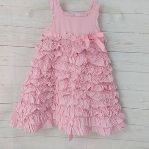 Savannah 4T Pink Girls Ruffle Dress w Tie